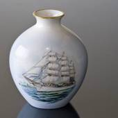 Windjammer vase with The Trainingship Denmark, Bing & grondahl No. 55251