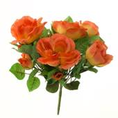 Artificial rose bush, small, salmon