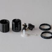 E27 socket with socket rings and switch (40mm), black