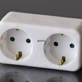 Extension socket with two round sockets