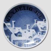 Roofs covered in snow Aluminia plaquette Merry Christmas