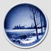 Kronborg seen from Sweden Aluminia plaquette Merry Christmas