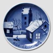 Winter scenery with church Aluminia plaquette, Merry Christmas