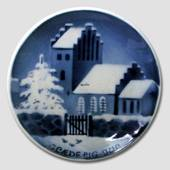 Church in snow Aluminia plaquette, Merry Christmas