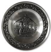 1976 Astri Holthe Norwegian Pewter Christmas plate, Fishing Boat
