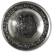 1980 Astri Holthe Norwegian Pewter Christmas plate, Visit by Santa Claus