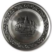 1981 Astri Holthe Norwegian Pewter Christmas plate, Christmas in Lapland