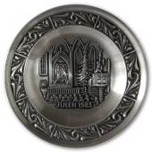 1983 Astri Holthe Norwegian Pewter Christmas plate, Christmas sermon in the...