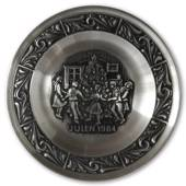 1984 Astri Holthe Norwegian Pewter Christmas plate, Dancing around the Chri...