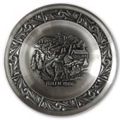 1986 Astri Holthe Norwegian Pewter Christmas plate, Sleighride in the snow