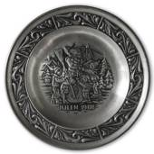 1988 Astri Holthe Norwegian Pewter Christmas plate, Snowman