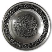 1990 Astri Holthe Norwegian Pewter Christmas plate, Decorating the Christma...