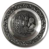 1991 Astri Holthe Norwegian Pewter Christmas plate, Singing Psalms in Churc...