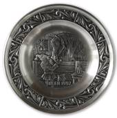1992 Astri Holthe Norwegian Pewter Christmas plate, Christmas in the barn a...