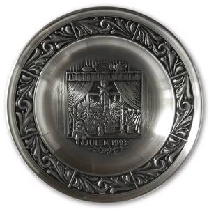 1993 Astri Holthe Norwegian Pewter Christmas plate, The Christmas Window | Year 1993 | No. AHX1993 | DPH Trading