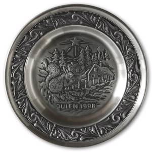 1998 Astri Holthe Norwegian Pewter Christmas plate, Visit from the Forest | Year 1998 | No. AHX1998 | DPH Trading