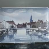 Dish with view of Aarhus harbour, Bing & Grondahl no. 1024329 / 1301-6589