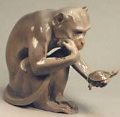 Monkey with Tortoise, Large, Bing & Grondahl figurine