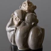 Sleeping monkeys sitting close in a group, Bing & Grondahl figurine No. 158...