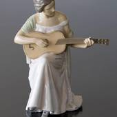 Woman with Guitar, Bing & Grondahl musical figurine no. 1021416 / 1684