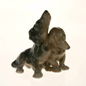 Pair of dachshunds standing in friendship, Bing & Grondahl dog figurine