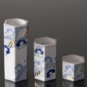 Tea-light Candleholders, 3 pcs., White with blue flowers, Bing & Grondahl