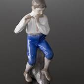 Flute Player boy sitting, Bing & Grondahl musical figurine No. 1897