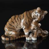 Tiger with cub playing lovingly with its mother's tail, Bing & Grondahl fig...