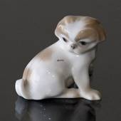 Pekinese sitting looking at its tail, 5,5cm, Bing & Grondahl dog figurine