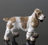 Springer spaniel standing at attention, Bing & Grondahl dog figurine