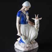 Girl with male goat, Bing & Grondahl figurine No. 2180