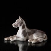Great Dane lying down while being attentive, Bing & Grondahl dog figurine
