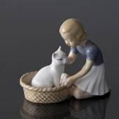 Friends, Girl with cat, Bing & Grondahl figurine