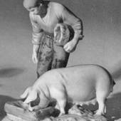 Farmer with pig, Bing & Grondahl figurine