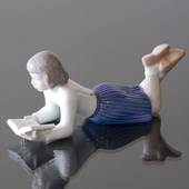 Merete, Girl lying and reading her book, Bing & Grondahl figurine