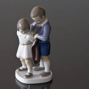 Gentleman, Boy helping girl with coat, Bing & Grondahl child figurine No. 2312 | No. B2312 | DPH Trading