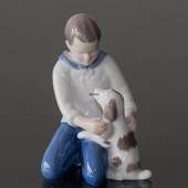 Boy with Dog, true friendship, Bing & Grondahl figurine
