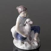 Girl with lamb, Mary had a little lamb, Bing & Grondahl figurine