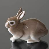 Brown rabbit sitting keeping low, Bing & Grondahl figurine