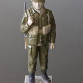 Soldier in battle gear to serve and protect, Bing & Grondahl figurine