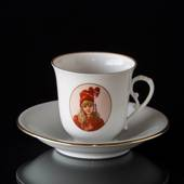Carl Larsson service. Cup and saucer, Motif no 6