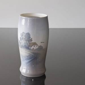 Vase with country cottage and road, Bing & Grondahl