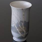Vase with scenery with birch trees and a cottage, Bing & Grondahl
