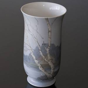 Vase with scenery with birch trees and a cottage, Bing & Grondahl | No. B8775-504 | DPH Trading