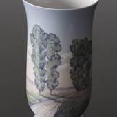 Vase with scenery of road trees, Bing & Grondahl Nr. 8789-504
