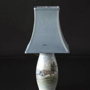 Lamp with scenery with farm house, Bing & Grondahl No. 8790-247