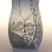 Vase with scenery with birch trees, Bing & Grondahl