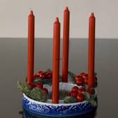 Advent Candleholder blue/white with Christian hawthorn decoration, Bing & G...