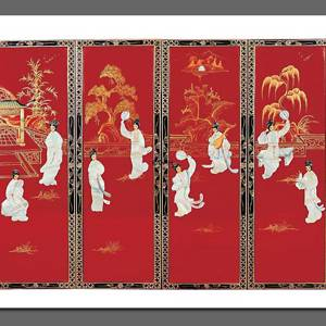 Chinese wall panel, red with ladies | No. BA-325C | DPH Trading