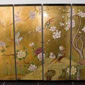 Chinese wall panel, gold with birds and flowers